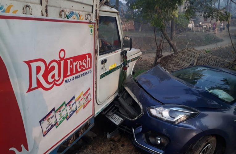 SARAN:अनियंत्रित पिकअप वैन ने रिजर्व बैंक के अधिकारी के चार चक्का वाहन में मारा टक्कर,दो घायल
